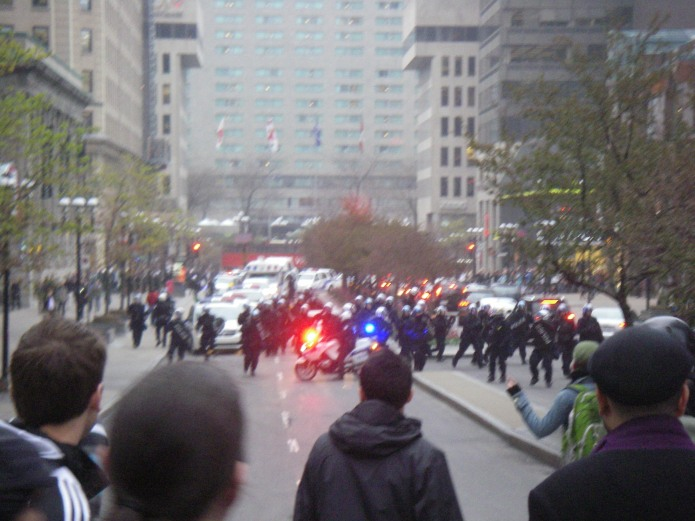 The riot police begin their charge